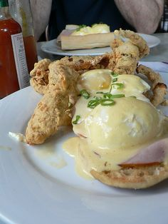 New Orleans style Eggs Benedict with soft-shell crab.