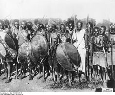 """""""Ruga-ruga, irregular warriors in colonial German service. German East-Africa, 1914. In battle they probably would have been equipped with captured British rifles, which the German East-African army was never in short supply of."""