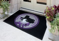 """#Waterhog #Logo #Mats combine great functionality with a precision razor-cut inlay process making it the most popular indoor and outdoor logo floor mat. A design artist literally """"lifts"""" the logo from the mat using laser measurements to achieve the most detailed logo on the market. Crush resistant raised-square """"nubs"""" hold dirt and moisture below the foot level while effectively scraping shoe soles.  #retail #marketing #smallbusiness"""