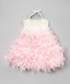 Another great find on #zulily! Light Pink Feather Pearl Halter Dress - Toddler & Girls #zulilyfinds