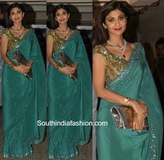Shilpa Shetty chose to attend the Bachchans' Diwali bash in a glittery and beautiful saree by Manish Malhotra.She teamed it up with a diamond and ruby necklace.