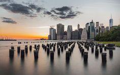 World famous skyline of NYC, taken from Pier 2 in Brooklyn Bridge Park.