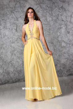 Sexy Neckholder Abendkleid in Gelb von www.online-mode.biz