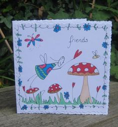 Hand Drawn Doodled Fairy Friends Card £2.50