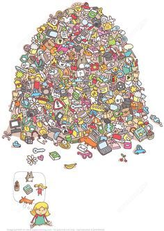 Help Little Girl Find Her Toys in a Pile of Objects Puzzle   Super Coloring