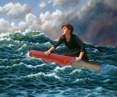 Woman atop book on ocean wave by Leslie Balleweg