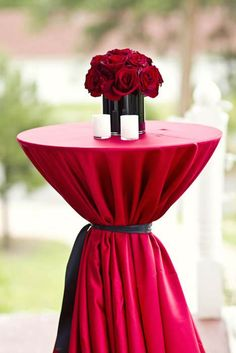 For lounge. The Shining Inspired Glam Goth Wedding · Rock n Roll Bride Keywords: Gothic Wedding, Red Wedding, Wedding Table, Wedding Cakes, Wedding Colors, Cocktail Table Decor, Cocktail Tables, Black And White Centerpieces, Black Vase