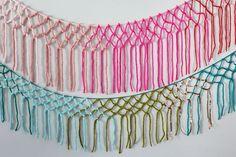 DIY Macrame yarn garland  http://www.abeautifulmess.com/2015/02/macrame-yarn-garland-diy.html#