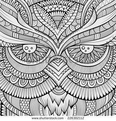 Decorative ornamental Owl background. Vector illustration