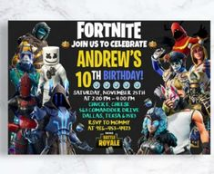 Get your guests' heartbeats racing the second they set eyes on this awesome Fortnite party invitation! You can bet they'll be polishing up their dance moves once they do. See more party ideas and share yours at CatchMyParty.com #catchmyparty #partyideas #fortniteparty #fortnite #fortnitepartysupplies Pool Party Birthday Invitations, Birthday Parties, Invitation Wording, Custom Invitations, Welcome Home Parties, Diy Party Supplies, Host A Party, Thing 1 Thing 2, Best Part Of Me