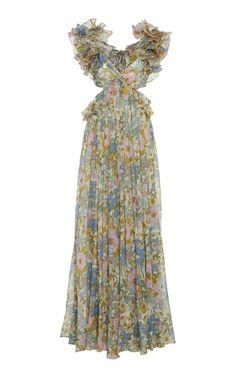 Cutout Floral-Print Ruffled Silk-Chiffon Maxi Dress by Zimmermann Kpop Fashion Outfits, Stage Outfits, Dress Outfits, Fashion Dresses, Women's Dresses, Silk Gown, Chiffon Maxi Dress, Floral Maxi Dress, Silk Chiffon