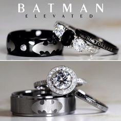 If you've finally found the Selina Kyle to your Bruce Wayne and you're ready to tie the knot, then you'll want to do so in style. Thanks to Etsy seller Cloud9Tungsten you can say 'I do' with a set of rings more badass that the Batcave. These are the rings your beloved deserves AND the ones you need right now.  #Batman #jewelry #rings