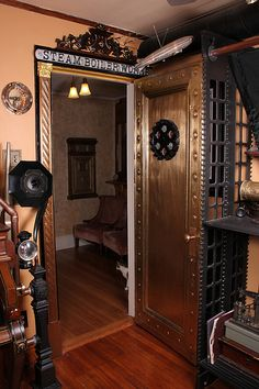 The entrance to a steampunk heaven. Chris would love this entrance to his man cave.