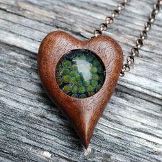 Boro Glass and Claro Walnut Heart Pendant Necklace
