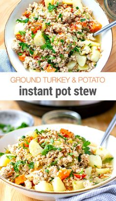 Instant Pot Ground Turkey & Potato Stew - - Rustic, countru-style Instant Pot ground turkey and potato stew is super simple to prepare and only takes 30 minutes from start to finish. Perfect for a weeknight dinner, kid-friendly. Ground Turkey Pasta, Ground Turkey Chili, Turkey Stew, Ground Turkey Stuffed Peppers, Healthy Ground Turkey, Ground Turkey Recipes, Super Simple, Patatas Guisadas, Pots