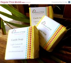 On Sale Castile soap: light lemon and cinnamon scent/pure gentle olive oil soap - pinned by pin4etsy.com