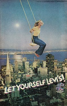 1977 Fashion Ad, Levi's Jeans, Girl on Swing | Flickr - Photo Sharing!