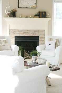 Ikea white jenny lund slipcovered chairs Feathers In My Nest: My Family Room Reveal