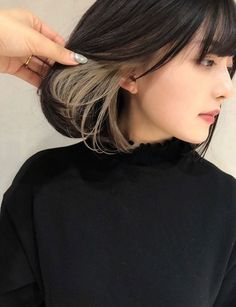 佳乃 on in 2019 Hidden Hair Color, Two Color Hair, Hair Color Streaks, Peekaboo Hair Colors, Hair Color Underneath, Aesthetic Hair, Hair Looks, Dyed Hair, Hair Inspiration