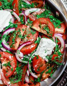 A simple Mediterranean-style tomato salad that will rock your world! Tomatoes and red onions with fresh parsley and dill, doused in citrus and olive oil. Vegan. Gluten-free. See the step-by-step.
