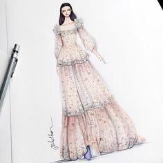 Eris Tran: Heidi Klum at the 2016 Oscars in Marchesa Fashion Design Sketchbook, Fashion Design Drawings, Fashion Sketches, Fashion Week, Fashion Art, Fashion Outfits, Fashion Designer, Designer Dresses, Fashion Illustration Dresses