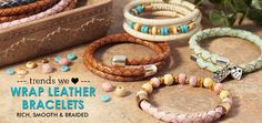 Get Wrapped Up In Stylish Leather and Cork Bracelets - Wrap bracelets are easy to make with leather or cork cord that has an inner hollow tube and some memory wire.