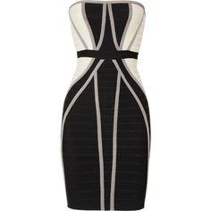 Hervé Léger Strapless paneled bandage dress ($670) ❤ liked on Polyvore