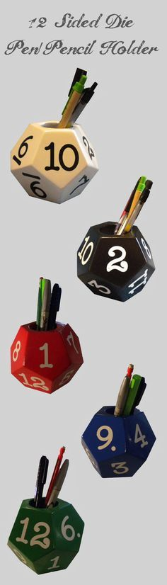 Show a small part of your Inner Geek at home or the office.  Whether your game is Dungeons & Dragons, Warhammer, or any of the other table top board games you will impress all your friends.  Handmade solid wood 12 sided die pen and pencil holder and paperweight available in 5 colors.