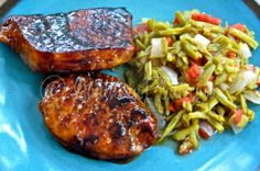 Maple Glazed Pork Chops and Last Minute Green Beans