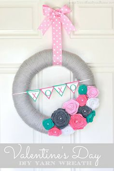 Valentine's Day Yarn Wreath