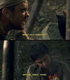 """One of the funniest scenes! I love how Djaq was just like, """"Special Girls' Food"""". I love how shes so serious and funny at the same time! Best Tv Shows, Favorite Tv Shows, Movies And Tv Shows, Tv Show Quotes, Movie Quotes, Robin Hood Bbc, Robin Hoods, Sherwood Forest, Funny Scenes"""