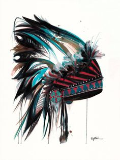 Native American headdress painted from a passion for southwestern art and American culture.
