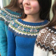 Knitting Patterns combine All the patterns Archives – Icelandic Knitter – Hélène Magnússon Fair Isle Knitting Patterns, Knitting Stitches, Knitting Designs, Knit Patterns, Free Knitting, Pull Marron, Icelandic Sweaters, Girls Sweaters, Sweater Fashion