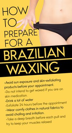 When it comes to intimate you have some choices to make: hard waxes vs. the modest bikini or the full-on In case you decide on the latter, we want to give you the lowdown on how to prep for your very first Brazilian appointment. tips brazilian Underarm Waxing, Lip Waxing, Waxing Tips, Body Waxing, Waxing Aftercare, Brazilian Wax Tips, Treat Ingrown Hair, Full Body Wax, Hair Removal Diy