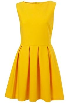 Yellow Structured Sleeveless Skater Dress - New In This Week - New In - Topshop USA - StyleSays