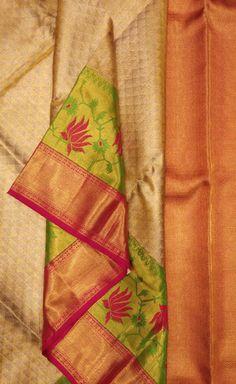 New Saree Blouse Designs, Half Saree Designs, Saree Blouse Patterns, Bridal Sarees South Indian, Golden Saree, Sarees For Girls, Wedding Saree Collection, Wedding Silk Saree, Kanjivaram Sarees
