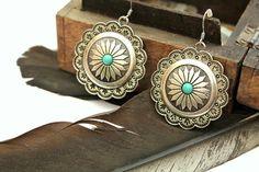 Vintage inspired concho Dangle silver earrings by handmadebyinali, $23.00