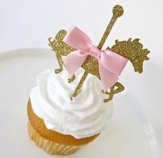 Our Carousel cupcake toppers are the perfect addition to your birthday party or baby shower! Just place the toppers in your homemade or store bought cupcakes for that extra sparkle and special touch! Our cupcake toppers come in a set of 12 and are made with glitter card stock and an