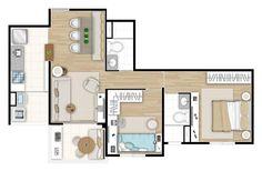Ilustração artística da planta do apartamento de 2 dormitórios - 61,36m² Up One Vila Carrão