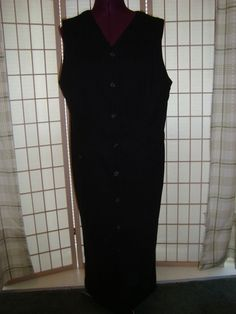 St. John's Bay Sz 12 Misses Black Stretch Button Front Shift Dress #StJohnsBay #Shift