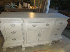 Painted/Glazed sideboard. Homemade Chalk paint, silver with black glaze