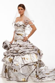 3140 All Camo and Faux Crystal Wedding Gown shown in Realtree AP SNOW