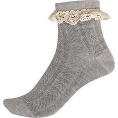 Grey Lace Trim Ankle Socks