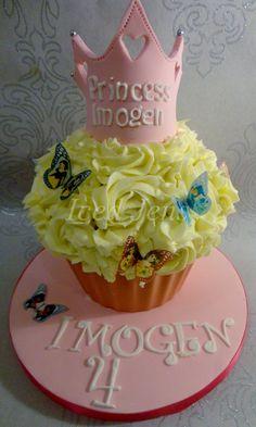 Disney Princess themed Giant Cupcake with princess crown