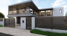 house fence designs nz - Google Search Style At Home, House Fence Design, Garage Doors, Mansions, Landscape, Fencing, House Styles, Outdoor Decor, House Ideas