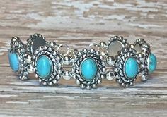 Turquoise and Antique Silver Bracelet | Designs by Jen, Beaded Wrap Bracelets, Leather Bracelets