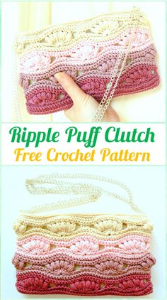 Crochet Ripple Puff Clutch Free Pattern - Crochet Clutch Bag & Purse Free Patterns