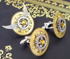 Steampunk Cuff Links and Tie Tack Set (CLS4) - Aviation Design - Gears and Swarovski Crystals - Fathers Day. $48.00, via Etsy.