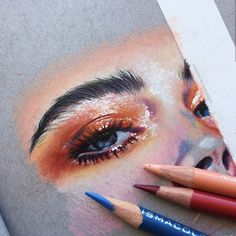 might not finish this since it was mostly just to start drawing again loll but i might idk (Priscilla García premier pencils on Strathmore Artist Papers toned gray paper) Gcse Art Sketchbook, Sketching, Realistic Eye Drawing, Eyes Artwork, Color Pencil Art, Coloured Pencil Drawings, Colored Pencils, Colour Drawing, Art Drawings Sketches