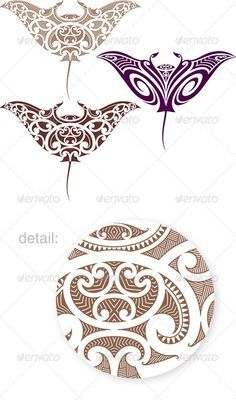 Buy Maori Manta Tattoo Design by artefy on GraphicRiver. Maori styled tattoo pattern in shape of manta ray. Fit for upper and lower back. Vector illustration in EPS Samoan Designs, Maori Designs, Polynesian Designs, Polynesian Art, Polynesian Tattoos, Maori Tattoos, Ta Moko Tattoo, Marquesan Tattoos, Samoan Tattoo